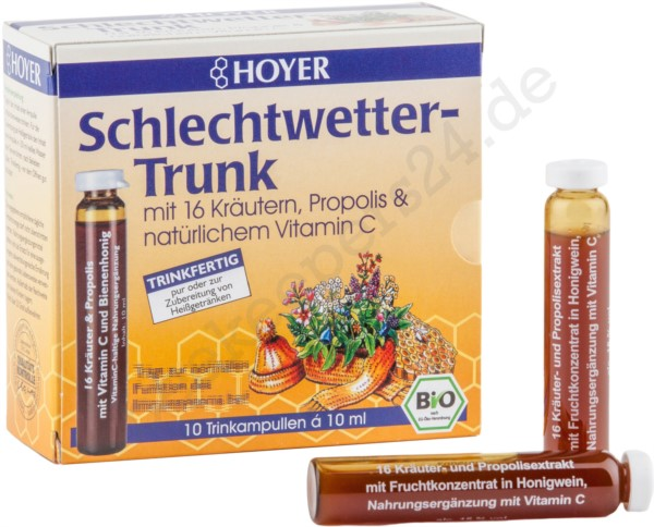 Schlechtwetter-Trunk, 10 Trinkampullen á 10 ml (100 ml), Bio