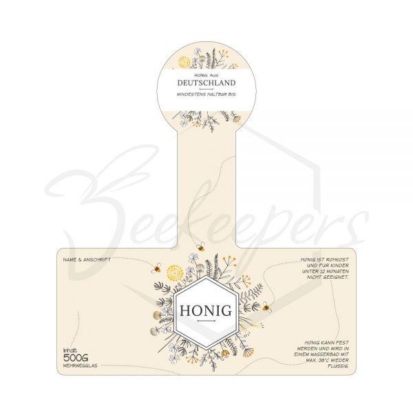 "Honig-Etikett ""BeeStipy"", mit Steg, selbstklebend, 500 g, 100 Stück"