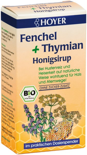 Bio Fenchel + Thymian Honigsirup, 250g Dosierflasche