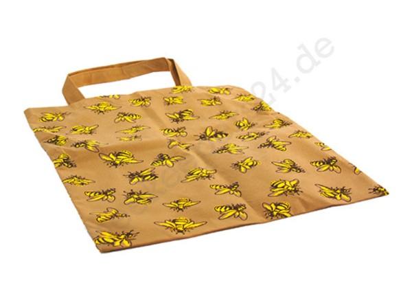 Einkaufs-Tragetasche mit Bienenmotiv, braun/gelb