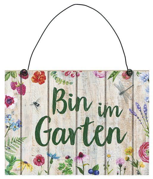 """Blatt & Blüte Gartenschild """"Bin im Garten"""""""