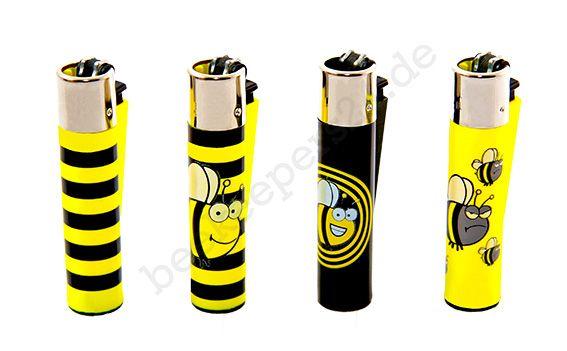 Feuerzeug Biene, 4er Set + Nachfüll-Gas