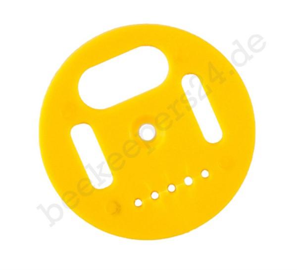 Fluglochrosette mit Drohnensperre gelb, Ø 50 mm