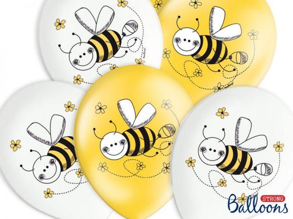 Luftballons mit Bienenmotiv, gelb und weiß, 50 Stück