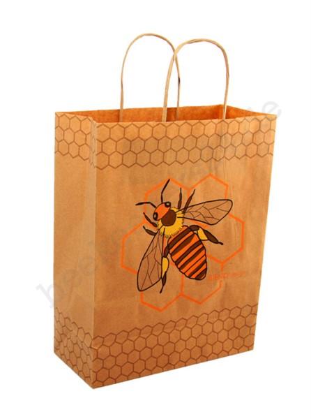 Papier-Tragetasche, natur mit Bienenmotiv