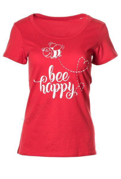 "Damen-T-Shirt ""Bee happy"" Bio-Baumwolle"