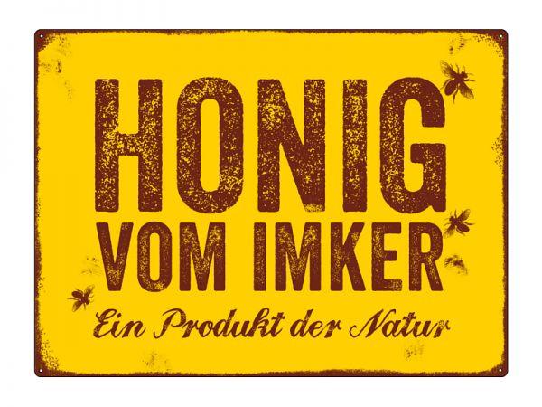 """Metallschild """"Honig vom Imker"""", gelb"""