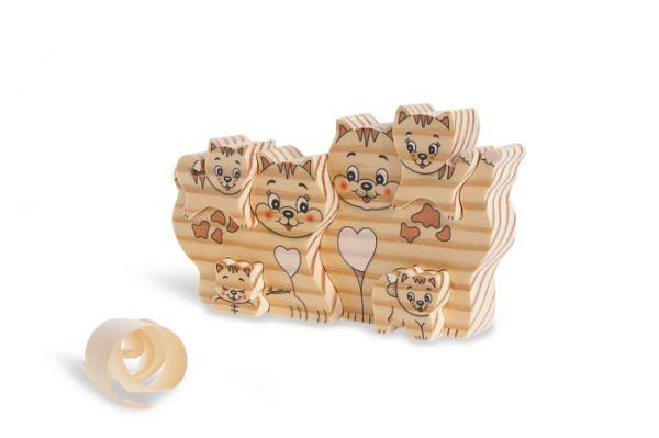 Holz-Steckspiel Katzen gross