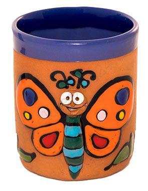 Keramik-Becher mit Henkel, Motiv Schmetterling