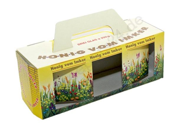 Geschenkkartons Blumenwiese, 3 x 250 g