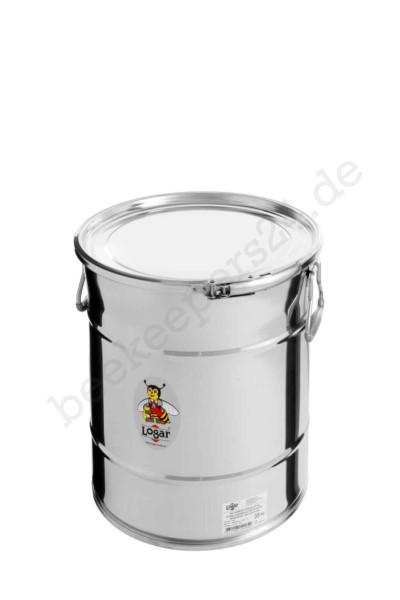 Logar Lagerbehälter 25 kg mit Spannring und Dichtung, Edelstahl