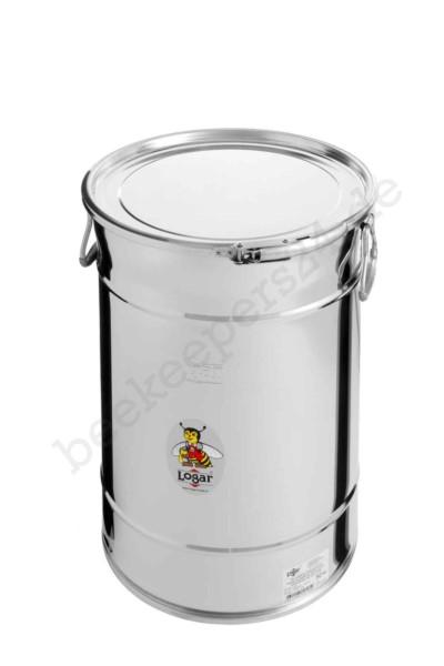 Logar Lagerbehälter 50 kg mit Spannring und Dichtung, Edelstahl