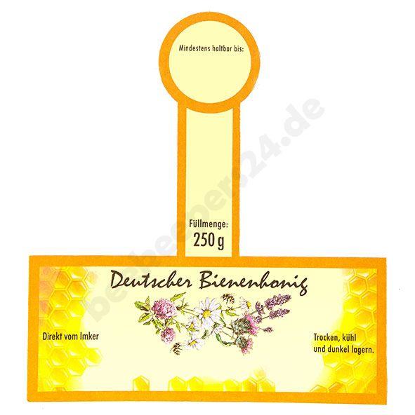 Honigglas-Etikett mit Steg, orange, 250 g, selbstklebend, 100 Stück