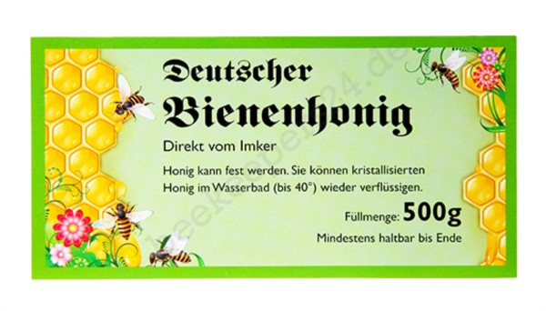 Honig-Etikett grün, 500g, 100 Stück