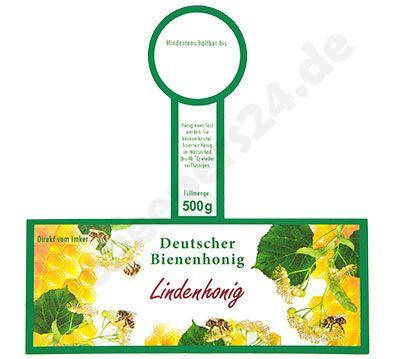 """Honigglas-Etikett mit Steg, """"Lindenhonig"""", 500 g, selbstklebend, 100 Stück"""