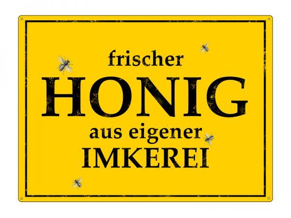 """Metallschild """"frischer Honig aus eigener Imkerei"""", gelb"""