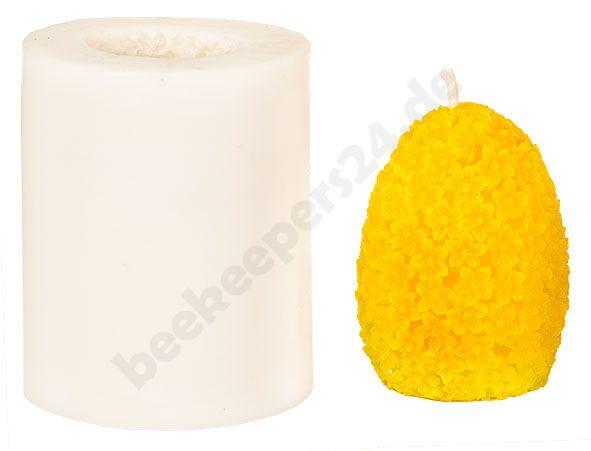 Kerzen-Gießform Ei mit Blumenmuster